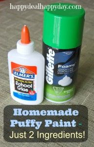 Homemade Puffy Paint – Just 2 Ingredients – Super Easy!!  http://happydealhappyday.com/homemade-puffy-paint/
