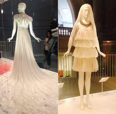 "Jenny Packham's ""Rapunzel"" dress (left) and Lanvin's mini dress (right)"