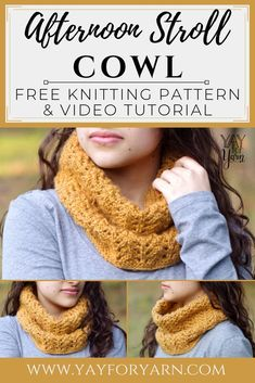 Afternoon Stroll Cowl - FREE Knitting Pattern This lightweight, lacy cowl is the perfect accessory for breezy days. A simple, feminine project that knits up quickly with just one skein of yarn! Great for beginners looking to try lace knitting. Beginner Knitting Patterns, Knitting For Beginners, Knitted Cowl Patterns, Scarf Patterns, Knitting Tutorials, Knitting Projects, Stitch Patterns, Lace Knitting, Knitting Stitches