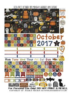 Free Printable October 2017 Monthly Headers and Extras for the Vertical Erin Condren and Recollection Creative Year Planners from myplannerenvy.com