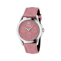 Gucci G-Timeless Candy Pink Dial Ladies Watch ($549) ❤ liked on Polyvore featuring jewelry, watches, analog wrist watch, stainless steel wrist watch, stainless steel watches, pink dial watches and bee jewelry