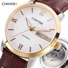 >> Click to Buy << COMTEX Mens Watch Mechanical Watch Mens Watches Top Brand Luxury Fashion Casual Mechanical Clock Simple Gold Leather Wristwatch  #Affiliate
