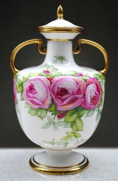 SIGNED J.Fenn C.1900 Antique Minton hand painted Rose bouquet lidded urn vase