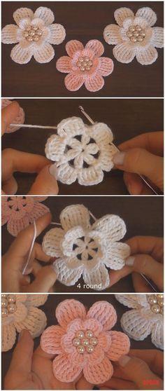 Learn To Crochet Easy Flowers – Crochet Ideas Learn to crochet simple flowers Crochet Flower Tutorial, Crochet Flower Patterns, Flower Applique, Crochet Motif, Crochet Flowers, Crochet Stitches, Knitting Patterns, Knitting Yarn, Scarf Crochet
