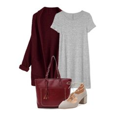 Grey dress+grey lace-up block-heels+burgundy knit cardigan+burgundy tote bag. Spring Casual Outfit 2018
