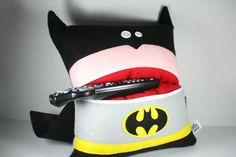 Batman Pillow-Home Decor-Throw Pillow-Travel by M8MadeDesigns