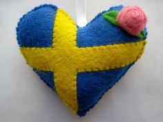 Felt SWEDEN Flag Love Heart Valentines Wedding Olympics hanging ornament decoration Swedish National Flag