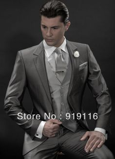 2014 New arrival Slim fitted Gray Wedding suit for men /Prom Suit with one button 3 peices