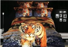 Cheap bed sheet baby, Buy Quality bed linen sheet directly from China bed lamp Suppliers: Tiger Bedding sets Queen size duvet cover designer Cotton bed sheets quilt linen bedspread oil painting Animal print Queen Size Bedspread, King Size Comforter Sets, King Duvet Cover Sets, Queen Bedding Sets, Duvet Covers, Queen Duvet, Mens Bedding Sets, Cotton Bedding Sets, Tiger In Water
