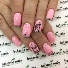 Glamorous nail art with dandelions outlined on the baby pink nails. nail designs for fall elegant nail designs for short nails nail stickers walmart nail art stickers walmart best nail polish strips 2019 Nail Art Designs 2016, Short Nail Designs, Nail Designs Spring, Fancy Nails, Cute Nails, Pretty Nails, Gel Nails, Acrylic Nails, Nail Polish