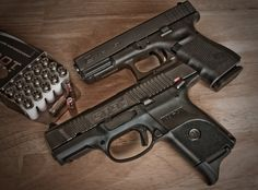 Glock and Ruger pistols