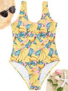 ff1a0962bb183 ZAFUL New One Piece Banana Print Plus Size swimwear Women Swimsuit One  Piece Swimwear U Neck Swimsuit Bathing Suit…