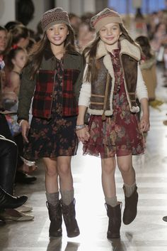 floral chiffon dresses with chunky boots and vests | faves from the Ralph Lauren Kids 2014 fall preview