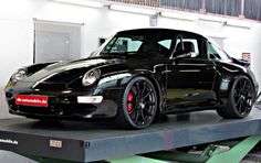 The Porsche 911 is a truly a race car you can drive on the street. It's distinctive Porsche styling is backed up by incredible race car performance. Porsche 993, Porsche Autos, Black Porsche, Porsche Cars, Custom Porsche, Porsche Carrera, Porsche Classic, Classic Cars, Lamborghini Gallardo