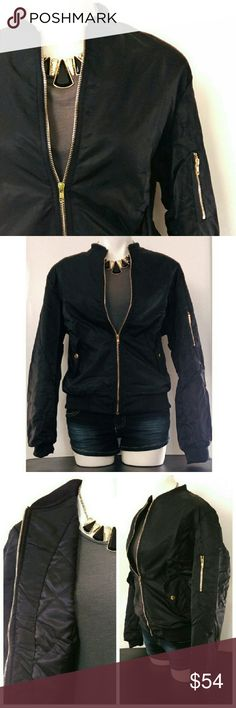 LAST ONE // Padded Black Bomber Jacket Stay warm and trendy this fall and winter season! This bomber jacket is padded (but not bulky) with gold zipper details.  Olive color available in another listing.  Measurements laying flat zippered/closed: [M=8-10] bust: 22 in. // length: 24 in. [L=12-14 ] bust: 24 in. // length: 24 in.  * Host Pick -  PoshFest 2016 Party chosen by @bwenger on 10/2 *  NOTE: Please see measurements or ask questions before purchasing.  PRICE IS FIRM. Bundle and save…