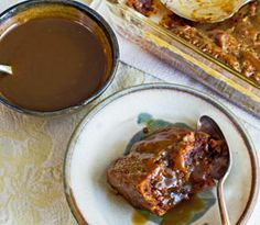 GF Vegan Sticky Toffee Pudding, rich delicious English dessert, served warm with hot toffee sauce