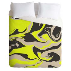 Wesley Bird Hypnotic Camo Yellow Duvet Cover | DENY Designs Home Accessories