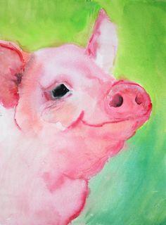 Pig portrait (original painting). $19.00, via Etsy.