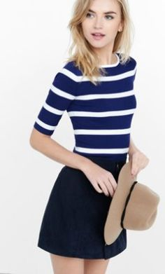 244e4d0e44 striped ribbed elbow sleeve sweater from EXPRESS Blue Sweaters