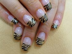 Cute zebra french manicure