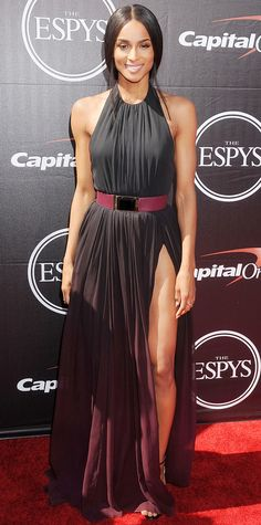 Ciara was statuesque at the 2015 ESPY Awards in a black-and-wine ombre silk chiffon Elie Saab gown with an alarmingly high slit and a matching wine-stained leather belt.