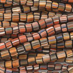 Seed Beads-5mm Handmade Glass-Indonesia-Terra Cotta Stripe-24 Inch Strand