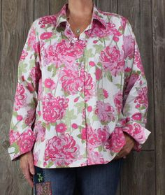 Pretty Talbots Blouse 18w size Pink Floral Stretch Womens Career Top Casual Plus Shirt
