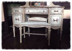 Vintage Vanity French Vanity Table -Shabby Chic- Hand Painted Dressing Table -Vanity -Hollywood Glam - Annie Sloan Chalk Paint Furniture - Custom Paint by DareToBeVintage, $685.00