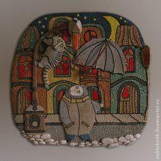 Часы для дома ручной работы. Ярмарка Мастеров - ручная работа Керамическое панно-часы «Неожиданная встреча». Handmade.