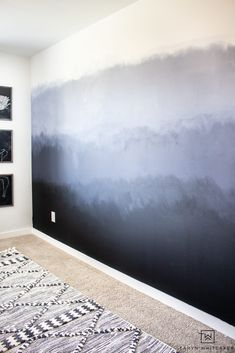 Learn how to create this DIY Painted Ombre Wall with a dark moody look! A great inexpensive accent wall idea to add to your space. Painted Feature Wall, Painted Wall Murals, Feature Walls, Ombre Painted Walls, Ombre Walls, Black Accent Walls, Accent Wall Bedroom, Master Bedroom, Wood Wallpaper