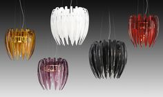 Dracena design by Diego Chilò for Leucos. Hand-stretched glass in the colours: white silk, amber and red. Metal structure with chrome plated finish. Double switching lamp.