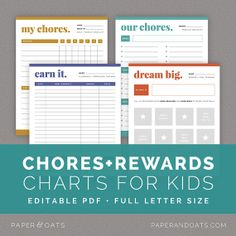 Chores & Rewards Editable Charts for Kids and Toddlers, Allowance and Commission Tracker, Goal Setting // Household PDF Printables