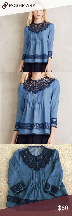 (Anthropologie) Holding Horses denim lace blouse Like new shirt ! Measurements included in photos !! Holding Horses by Anthropologie Anthropologie Tops Blouses