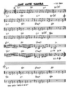 Samba, One Note, Jazz Sheet Music, Music Theory Guitar, Jazz Standard, Lead Sheet, Document, Scores, Gypsy