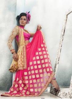 Pink Bulk Designer Saree With Lace Border Work