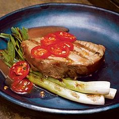 Tuna Steaks with Grilled Scallions and Tomatoes | MyRecipes.com