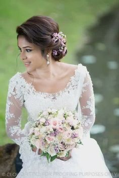 Image Result For Christian Wedding Hairstyles With Flowers Christian Bridal Saree Bridal Hairstyle Indian Wedding Christian Wedding Sarees