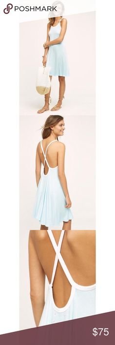 """NWT Anthropologie SatSun Crossback Day Dress L * Rayon, polyester, spandex knit * Pullover styling * Machine wash * Imported * Style No. 39221692 * Regular falls 31.25"""" from shoulder * Model is 5'9"""" Comes from a smoke and pet free home. Item is new with tags and has never been worn.  Prices? My prices are firm. They are the lowest I can go. I do offer bundle sales throughout the year.  Trades and Holds? I'm sorry, I do not offer a trade option. I also do not offer holds. Anthropologie…"""