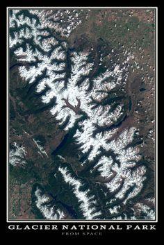 Glacier National Park Montana Satellite Poster Map