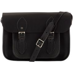 "The Cambridge Satchel Company The Classic 11"" Leather Satchel Bag (€115) ❤ liked on Polyvore featuring bags, handbags, accessories, purses, bolsas, bolsos, black, satchel purses, shoulder strap purses and man bag"