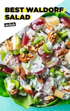Waldorf salad is so underrated. Waldorf salad is so underrated. Apple Salad Recipes, Healthy Salad Recipes, Lettuce Salad Recipes, Lunch Recipes, Salad Bar, Soup And Salad, Food Salad, Fruit Salads, Best Waldorf Salad Recipe