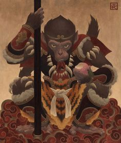 The Monkey King (Sun Wukong), also known as the Monkey King, is a main character in the 16th century novel Journey to the West and in many later stories and adaptations. In the novel, he is a monkey born from a stone who after rebelling against heaven and being imprisoned under a mountain by the Buddha, he later accompanies the monk Xuanzang on a journey to retrieve Buddhist sutras from India.