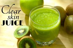 Get CLEAR & GLOWING skin with this yummy apple and kiwi juice! It definitely helped me to clear my skin from annoying little pimples and make it softer and smoother.