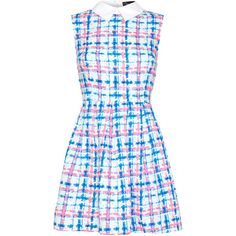 Iska London Pink & Blue Gingham Collared Fit & Flare Dress ($25) ❤ liked on Polyvore featuring dresses, pink dress, long patterned dress, long pink dress, sleeveless long dress and fit-and-flare dresses