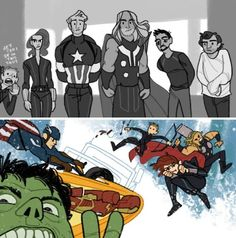 via lousysharkbutt on tumblr: NEW FOOTAGE captain America Steve Rogers Natasha Romanoff black widow Thor Odinson Tony stark iron man Bruce banner hulk avengers fanart nerd geek artwork
