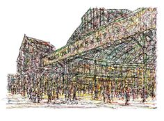 """""""Borough Market"""" London - Drawing,  25x17  ©2017 by Brian Keating -                                                                                                            Impressionism, Modernism, Paper, Architecture, Cities, Food & Drink, Places, borough market drawings, london markets drawings, london art"""