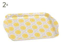Set de 2 bandejas de melamina Citrus, amarillo - 21x14 cm