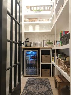 A walk in pantry makeover from builder grade to organized functionality. A walk in pantry makeover. Goodbye wire shelves, hello glass front fridge, subway tile, wooden shelving and a butcher block countertop. Kitchen Pantry Design, Kitchen Organization Pantry, New Kitchen, Pantry Ideas, Organized Pantry, Organization Ideas, Kitchen With Pantry, Kitchen Pantries, Fridge Storage