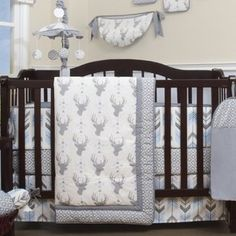 This beautiful new Jasmine Deer Nursery Arrow 13 Piece Crib Bedding Set with all the bundle you will need. This set is made to fit all standard cribs and toddler beds. The whole set comes with a 10 piece set plus 3 new wall art decor hangings.