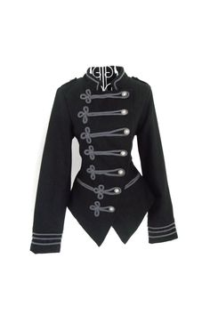 Vintage 1980s WOOL  black Gothic Military Napoleon jacket Steampunk Russian Renaissance Victorian black frock coat S UK 8 US 6. $79.00, via Etsy.